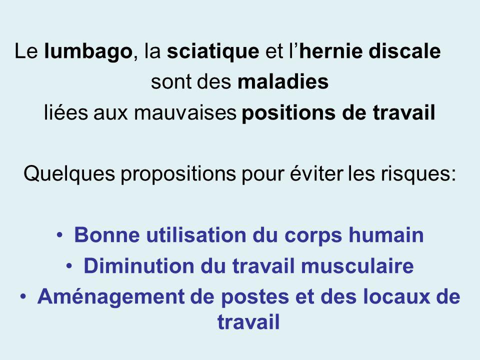 Le lumbago, la sciatique et l'hernie discale sont des maladies