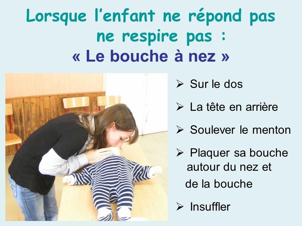 Lorsque l'enfant ne répond pas ne respire pas : « Le bouche à nez »