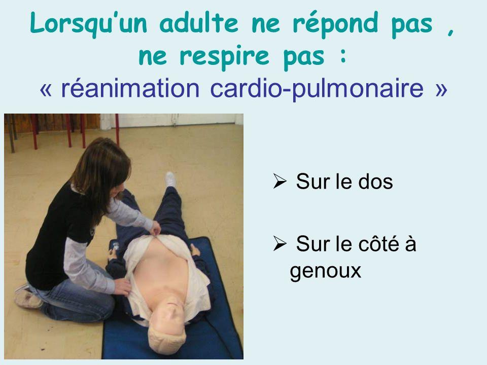 Lorsqu'un adulte ne répond pas , ne respire pas : « réanimation cardio-pulmonaire »
