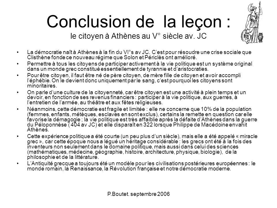 Conclusion de la leçon : le citoyen à Athènes au V° siècle av. JC