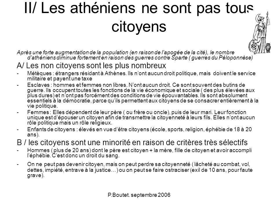 II/ Les athéniens ne sont pas tous citoyens