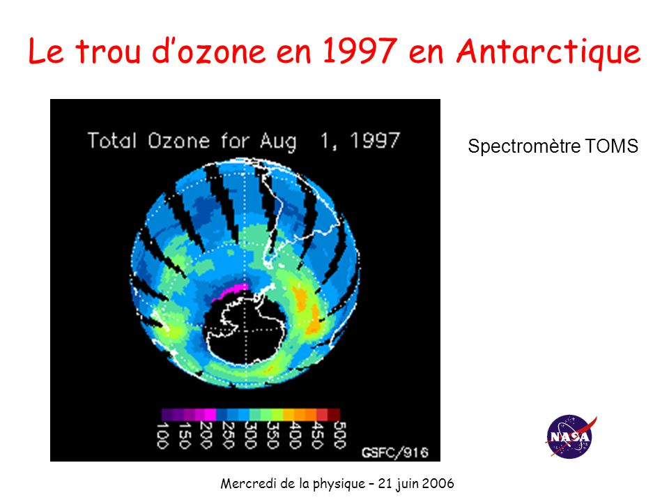Le trou d'ozone en 1997 en Antarctique