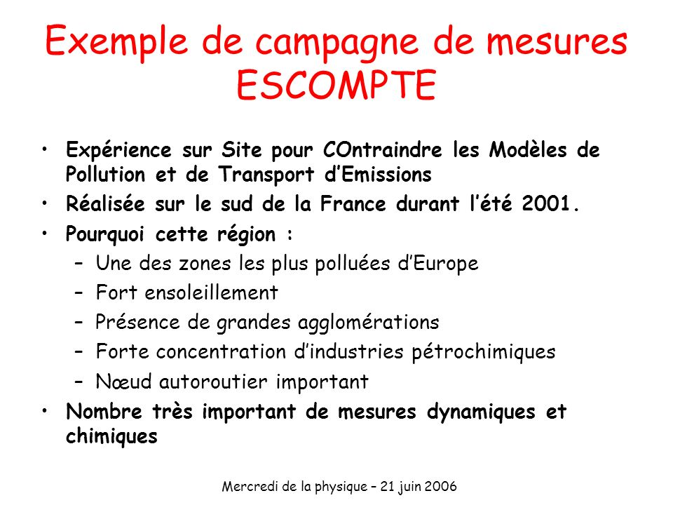 Exemple de campagne de mesures ESCOMPTE