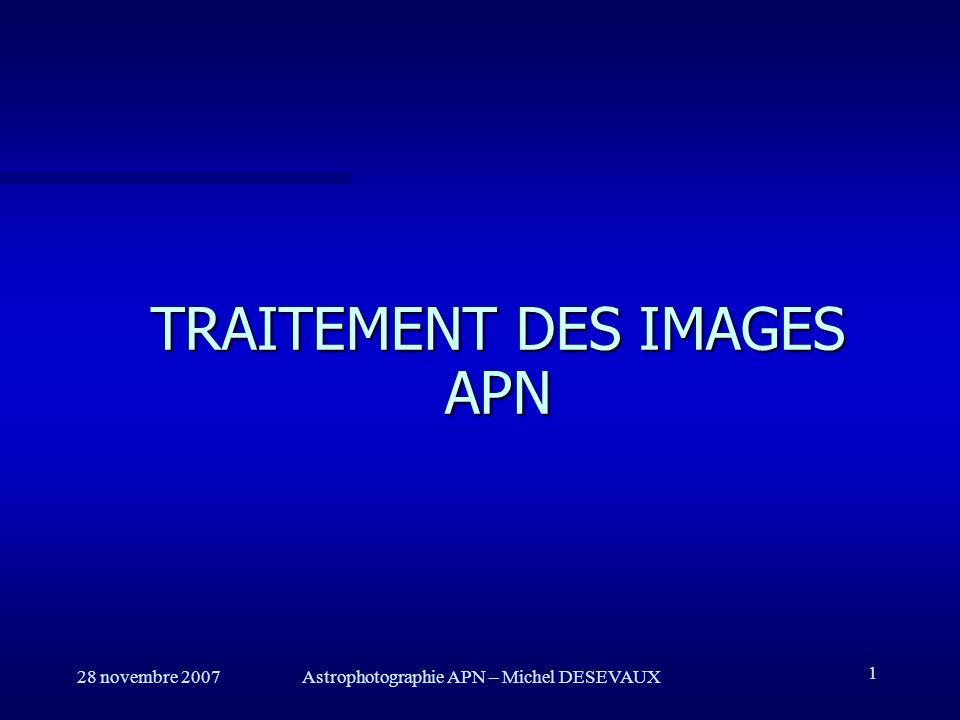 TRAITEMENT DES IMAGES APN