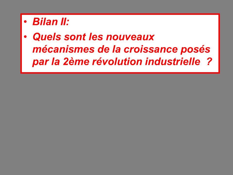 Bilan II: Quels sont les nouveaux mécanismes de la croissance posés par la 2ème révolution industrielle