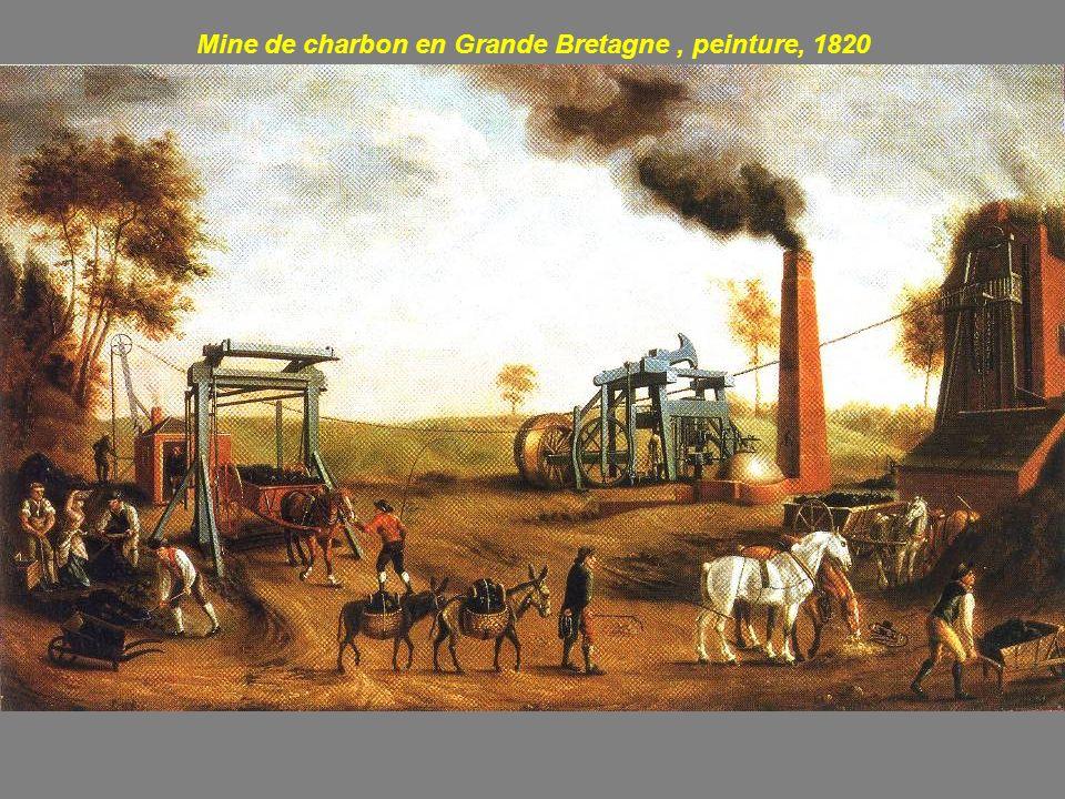 Mine de charbon en Grande Bretagne , peinture, 1820