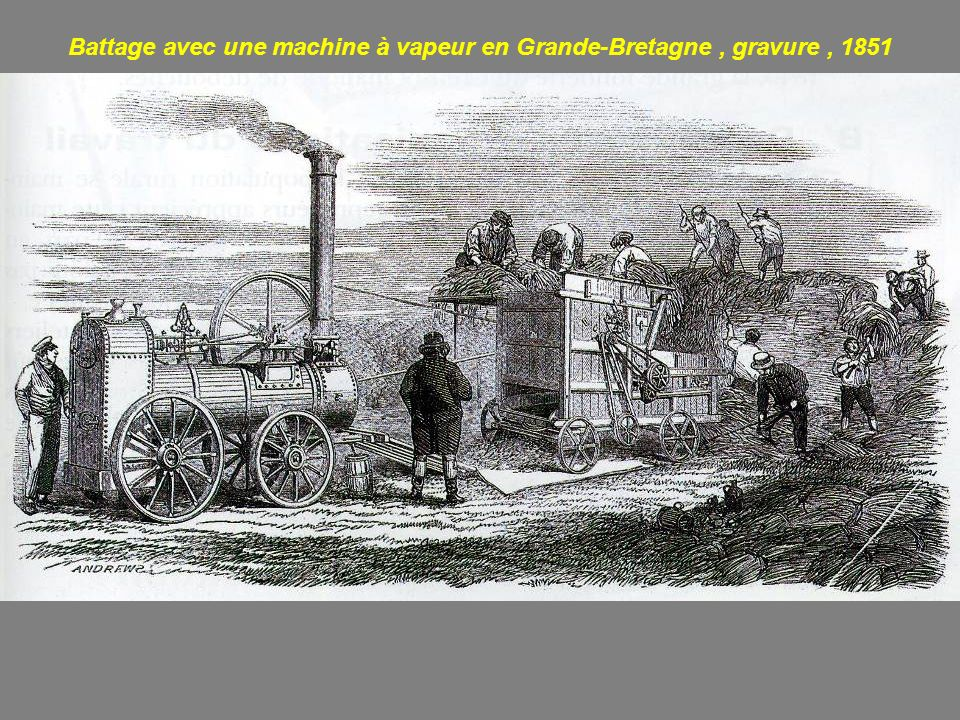 Battage avec une machine à vapeur en Grande-Bretagne , gravure , 1851