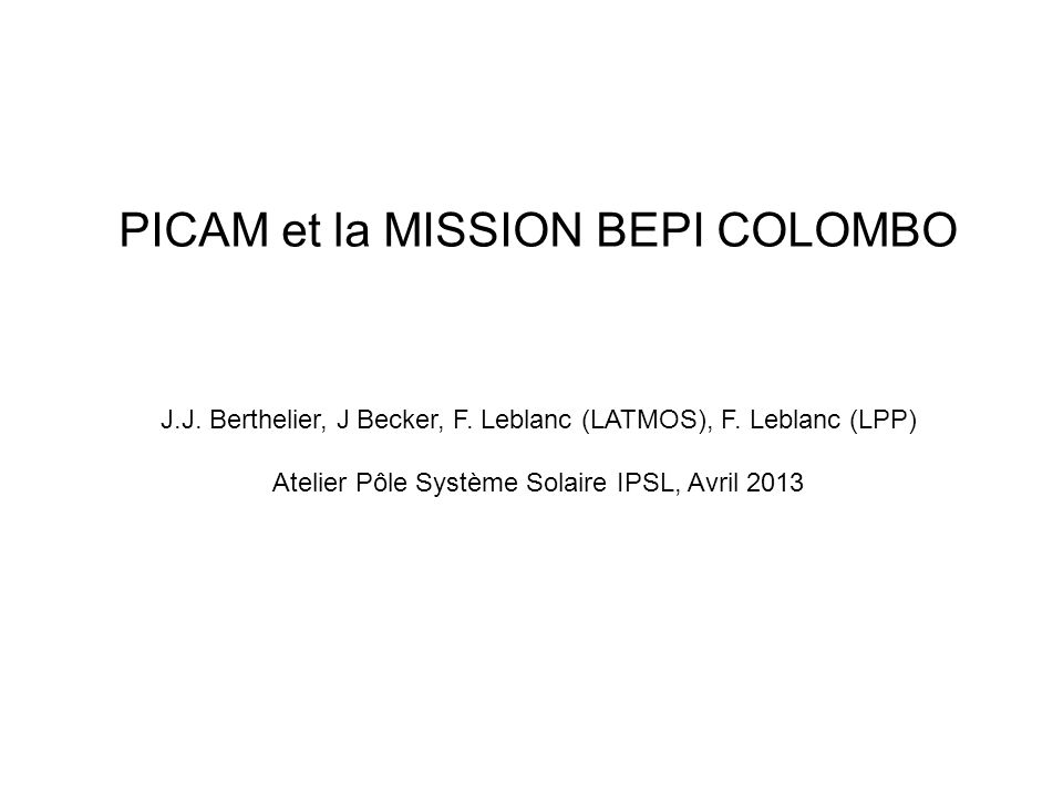 PICAM et la MISSION BEPI COLOMBO