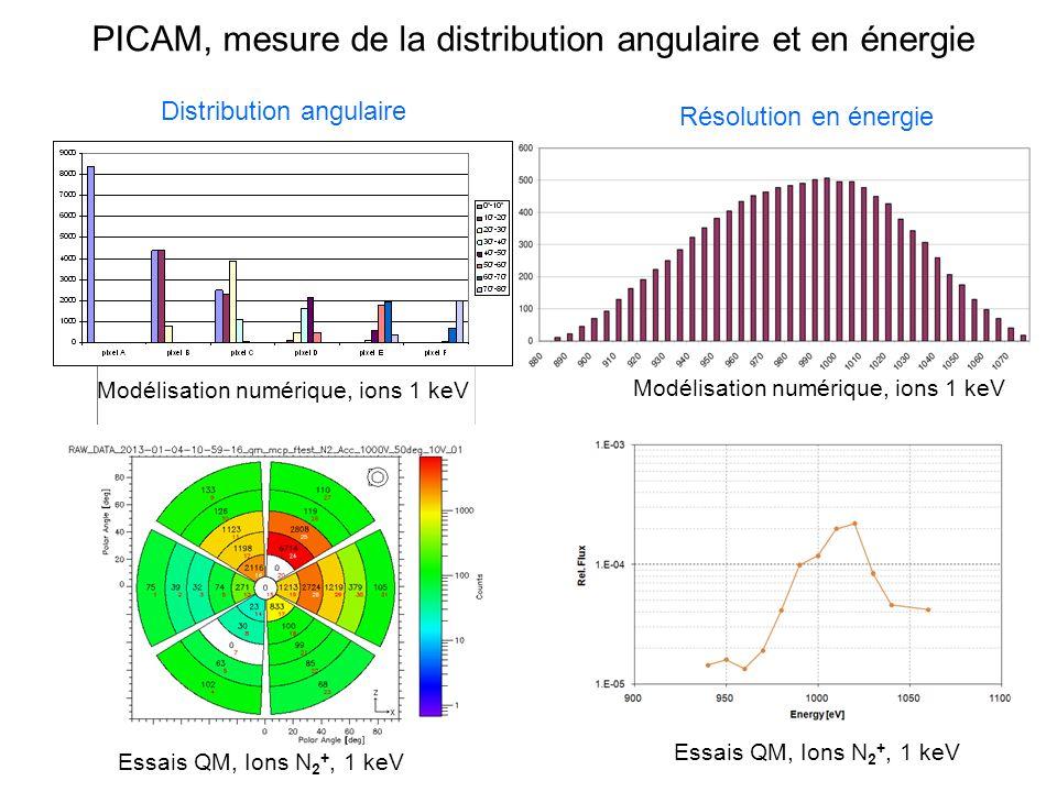 PICAM, mesure de la distribution angulaire et en énergie