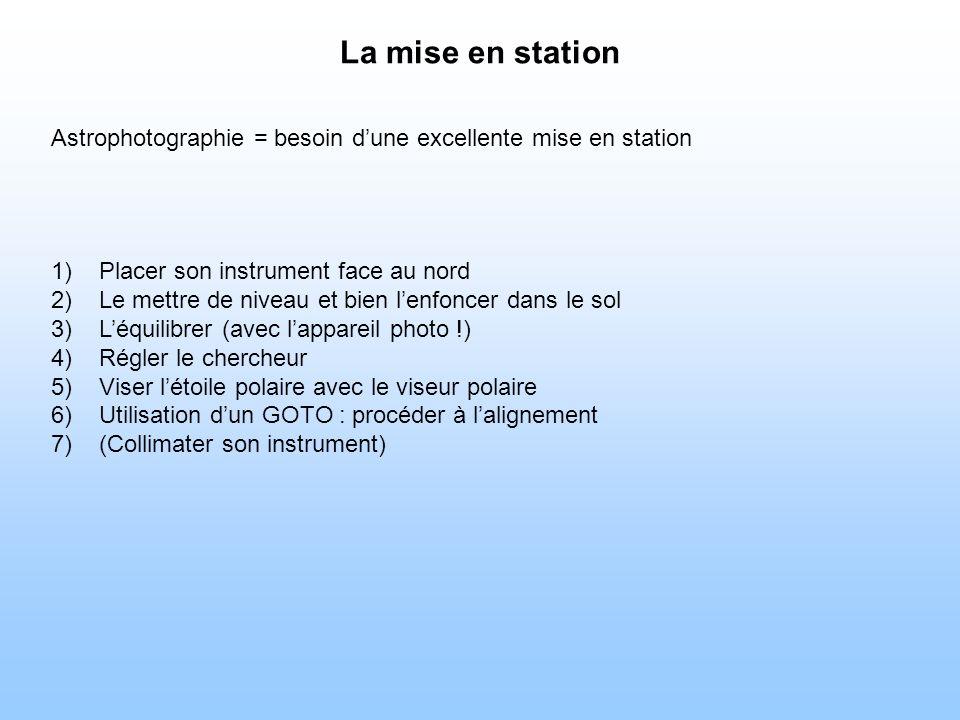 La mise en station Astrophotographie = besoin d'une excellente mise en station. Placer son instrument face au nord.