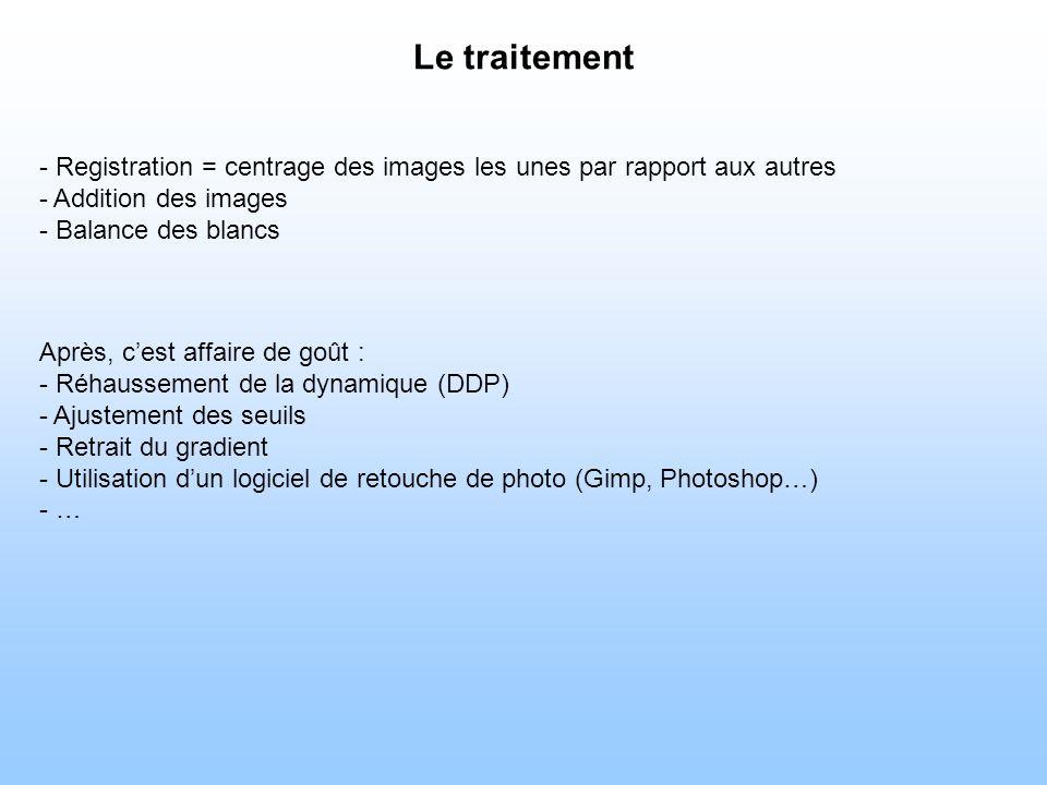 Le traitement - Registration = centrage des images les unes par rapport aux autres. - Addition des images.