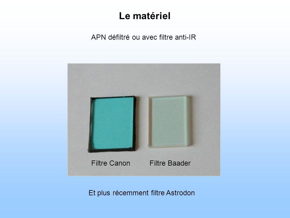 Le matériel APN défiltré ou avec filtre anti-IR Filtre Baader