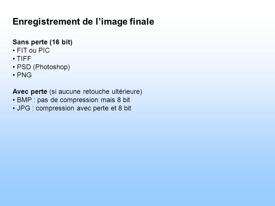 Enregistrement de l'image finale