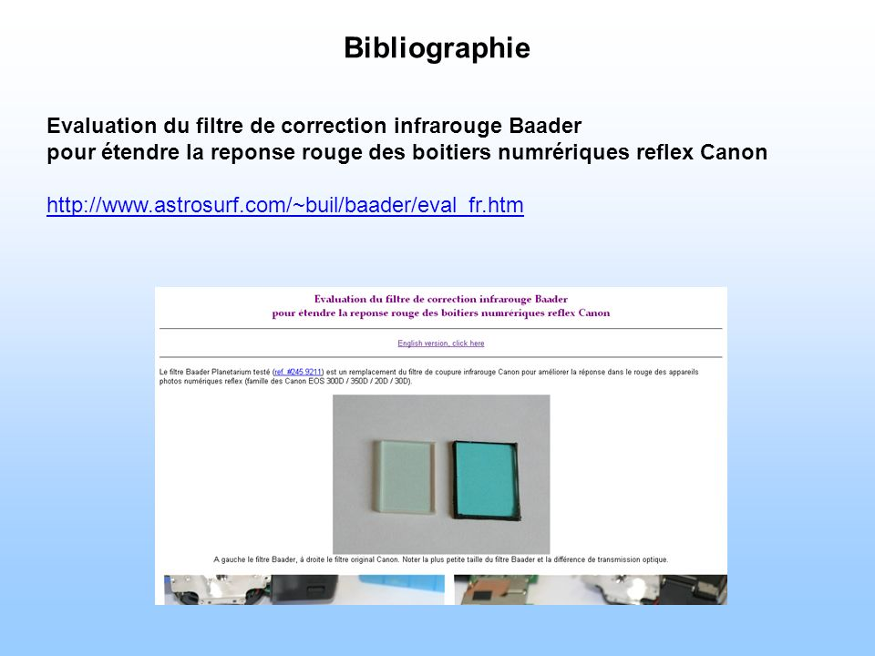 Bibliographie Evaluation du filtre de correction infrarouge Baader