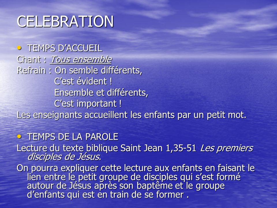 CELEBRATION TEMPS D'ACCUEIL Chant : Tous ensemble