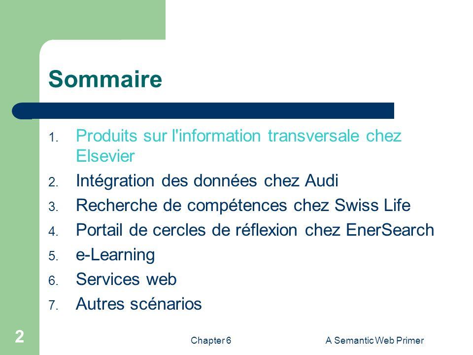 Sommaire Produits sur l information transversale chez Elsevier
