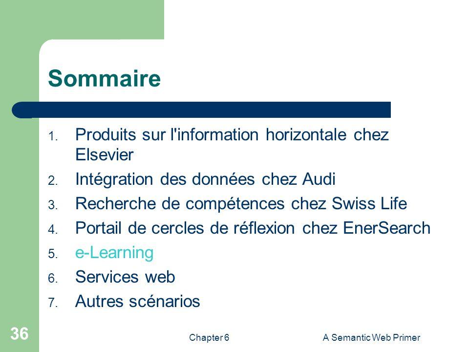 Sommaire Produits sur l information horizontale chez Elsevier