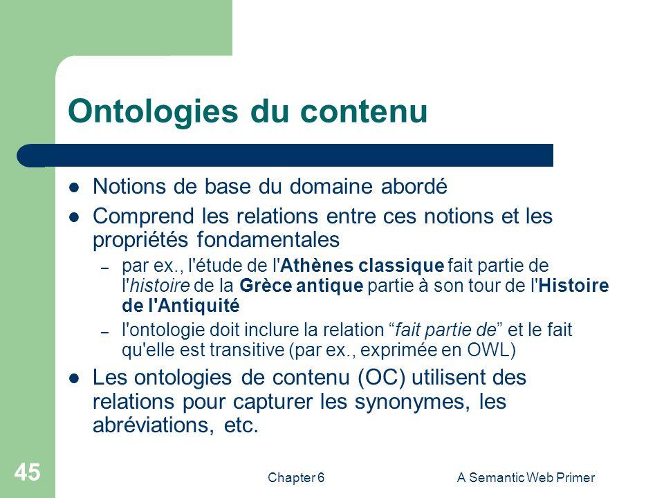 Ontologies du contenu Notions de base du domaine abordé