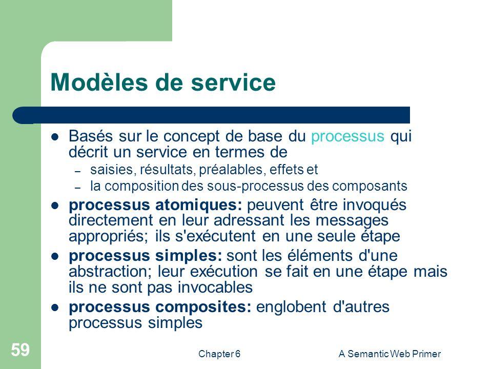 Modèles de service Basés sur le concept de base du processus qui décrit un service en termes de. saisies, résultats, préalables, effets et.