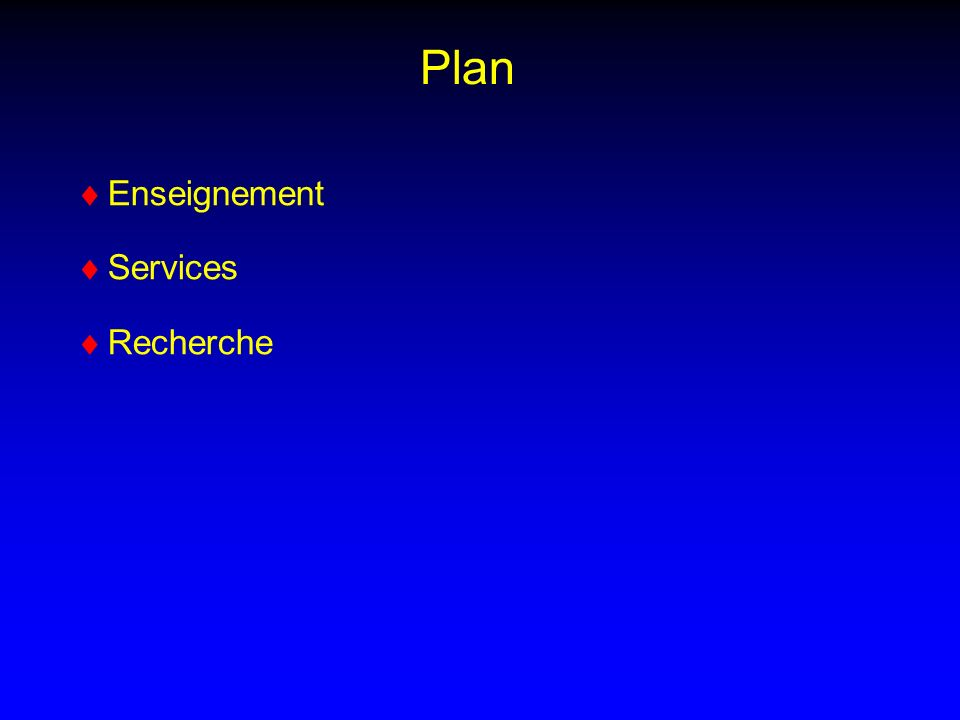 Plan Enseignement Services Recherche