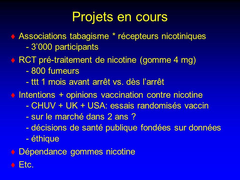 Projets en cours Associations tabagisme * récepteurs nicotiniques - 3'000 participants.