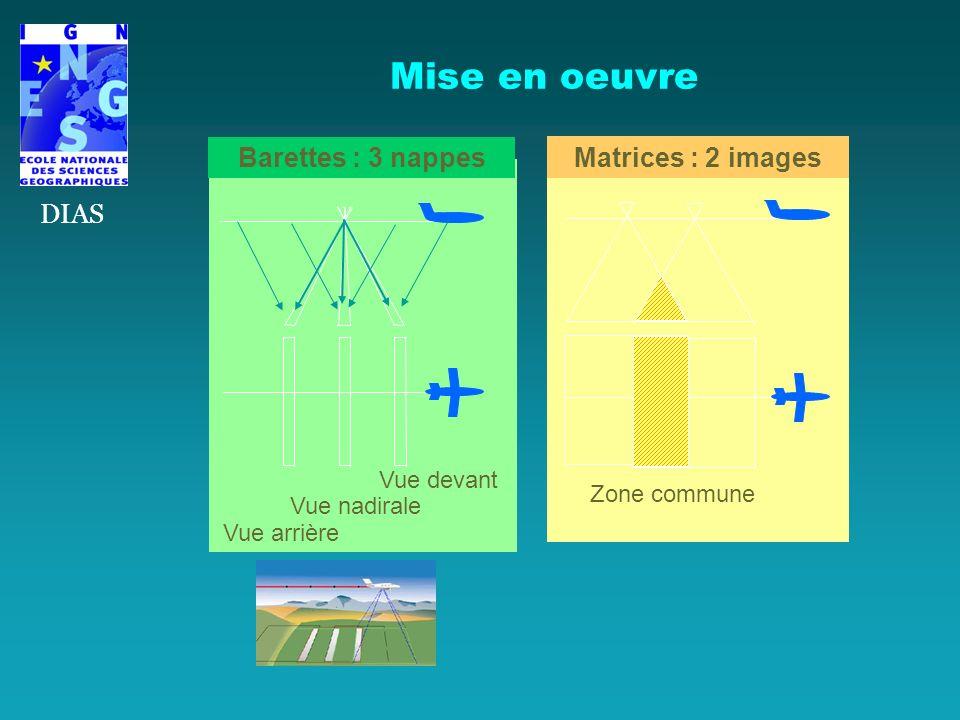 Mise en oeuvre DIAS Barettes : 3 nappes Matrices : 2 images Vue devant