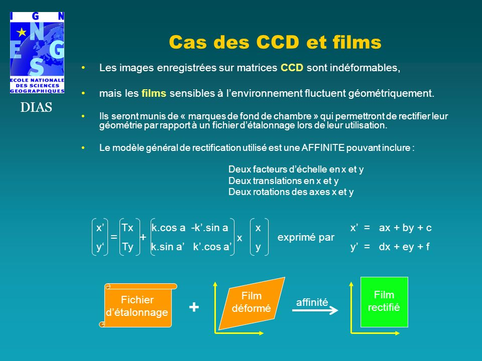 Cas des CCD et films + DIAS = + x