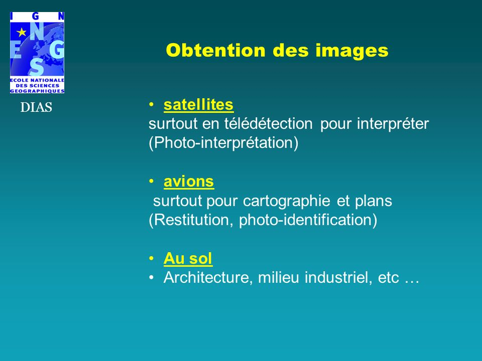 Obtention des images satellites