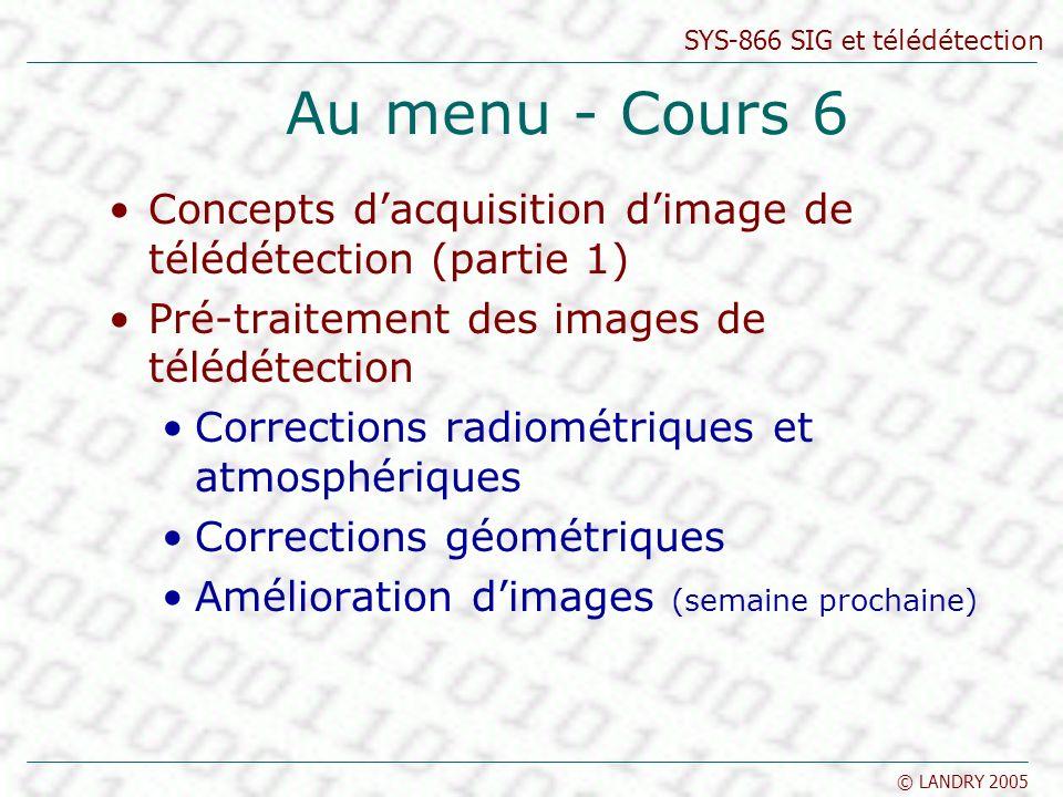 Au menu - Cours 6 Concepts d'acquisition d'image de télédétection (partie 1) Pré-traitement des images de télédétection.