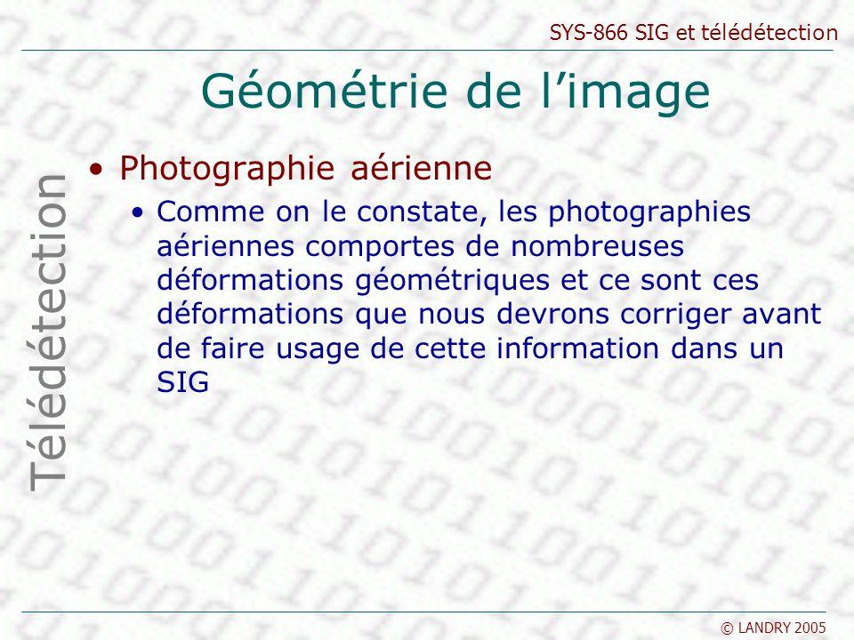Géométrie de l'image Télédétection Photographie aérienne