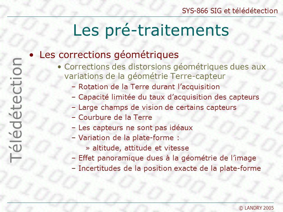 Les pré-traitements Télédétection Les corrections géométriques