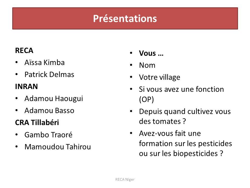 Présentations RECA Vous … Aïssa Kimba Nom Patrick Delmas Votre village