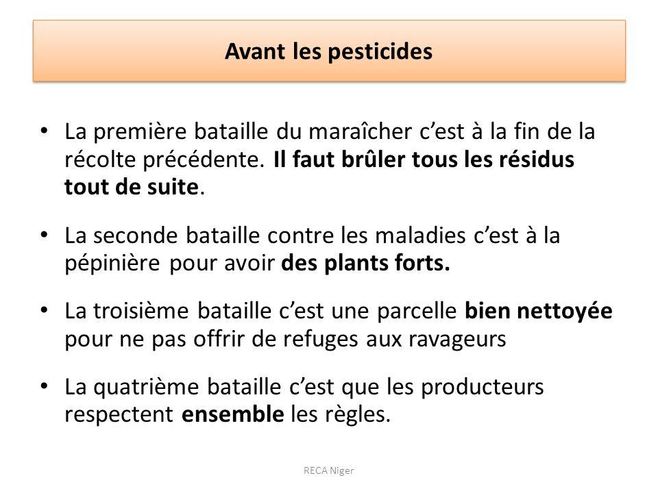 Avant les pesticides La première bataille du maraîcher c'est à la fin de la récolte précédente. Il faut brûler tous les résidus tout de suite.