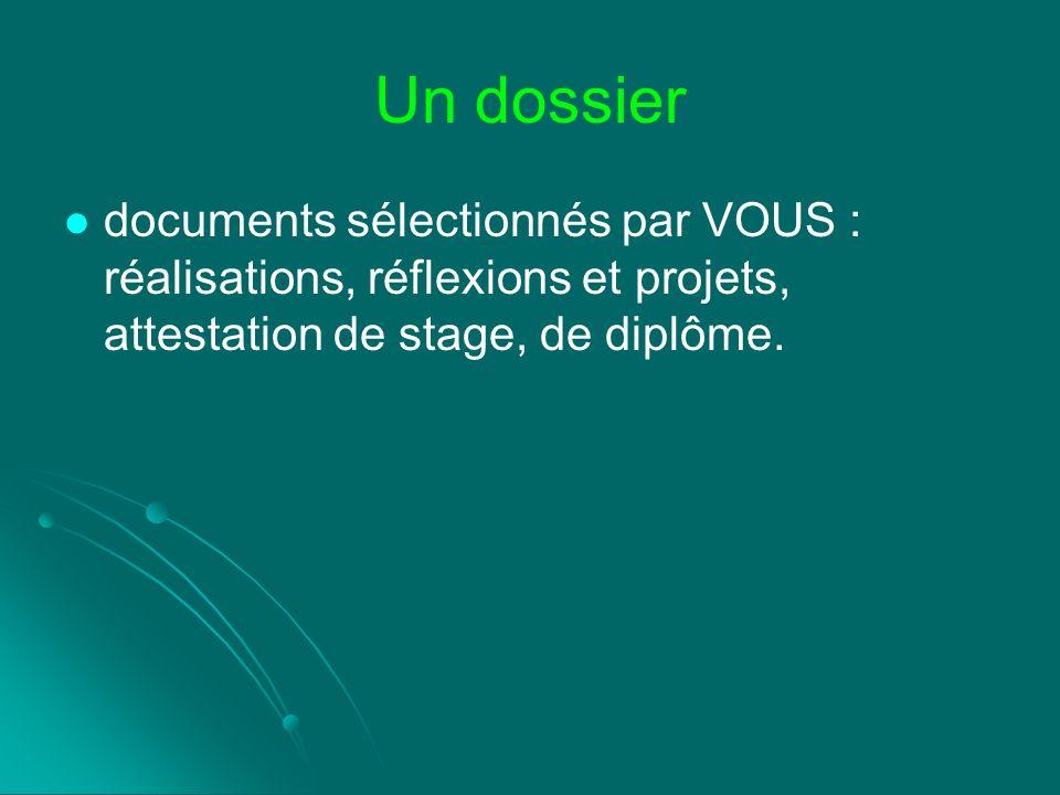 Un dossier documents sélectionnés par VOUS : réalisations, réflexions et projets, attestation de stage, de diplôme.