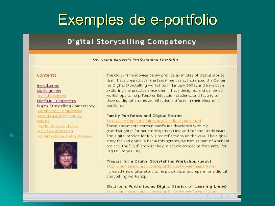 Exemples de e-portfolio