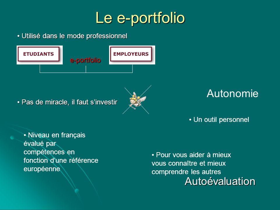Le e-portfolio Autonomie Autoévaluation