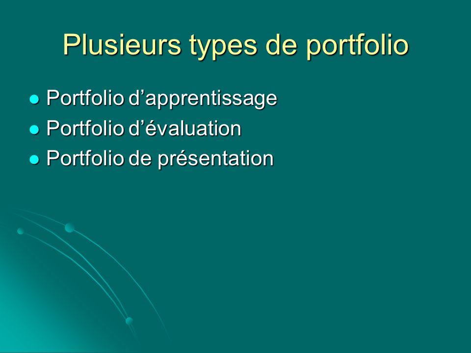 Plusieurs types de portfolio