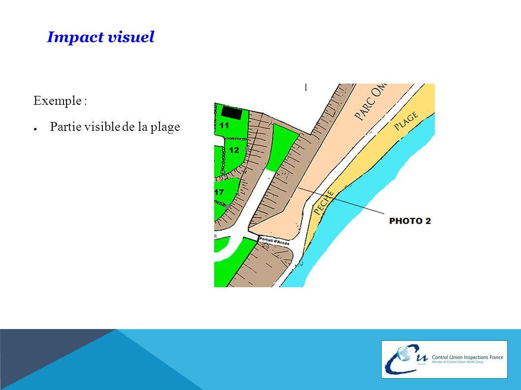 Impact visuel Exemple : Partie visible de la plage
