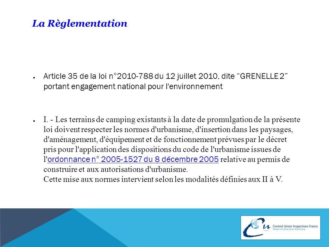 La Règlementation Article 35 de la loi n°2010-788 du 12 juillet 2010, dite GRENELLE 2 portant engagement national pour l environnement.