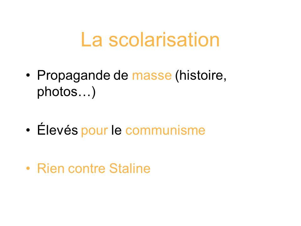 La scolarisation Propagande de masse (histoire, photos…)
