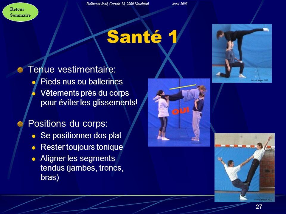 Santé 1 Tenue vestimentaire: Positions du corps: