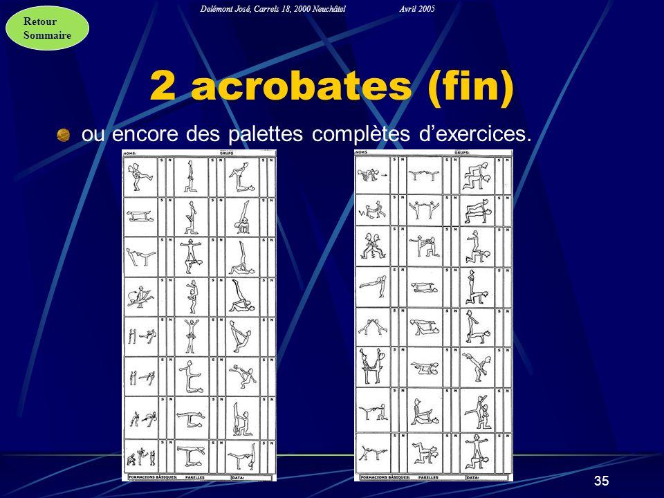 2 acrobates (fin) ou encore des palettes complètes d'exercices.