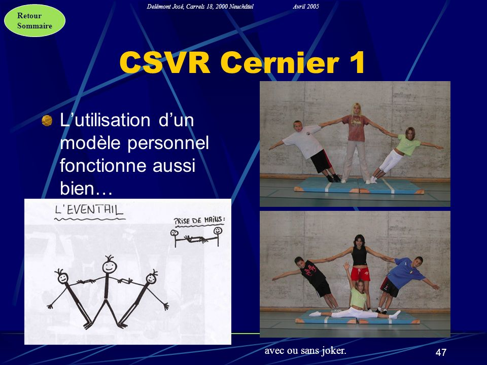 CSVR Cernier 1 L'utilisation d'un modèle personnel fonctionne aussi bien… avec ou sans joker.