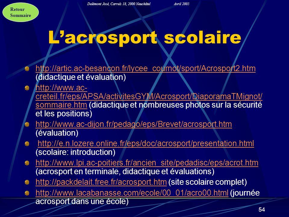 L'acrosport scolaire http://artic.ac-besancon.fr/lycee_cournot/sport/Acrosport2.htm (didactique et évaluation)
