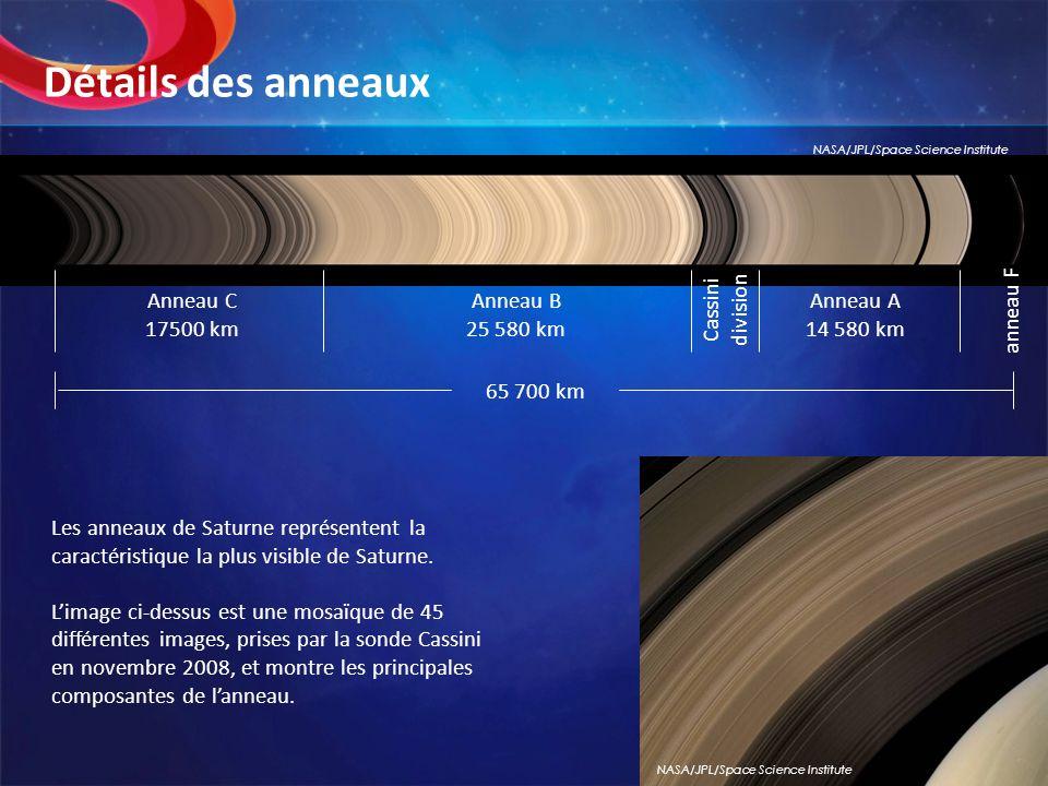 Détails des anneaux Cassini division Anneau C 17500 km Anneau B