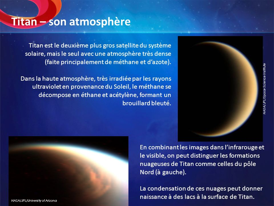 Titan – son atmosphère NASA/JPL/Space Science Institute.