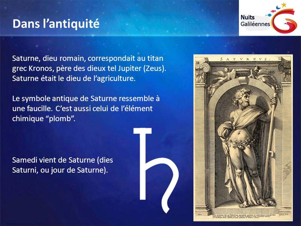 Dans l'antiquité Saturne, dieu romain, correspondait au titan grec Kronos, père des dieux tel Jupiter (Zeus). Saturne était le dieu de l'agriculture.