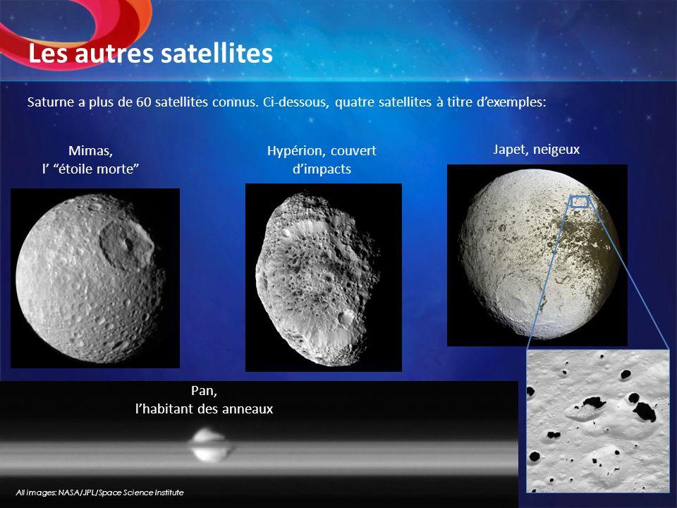 Les autres satellites Saturne a plus de 60 satellites connus. Ci-dessous, quatre satellites à titre d'exemples: