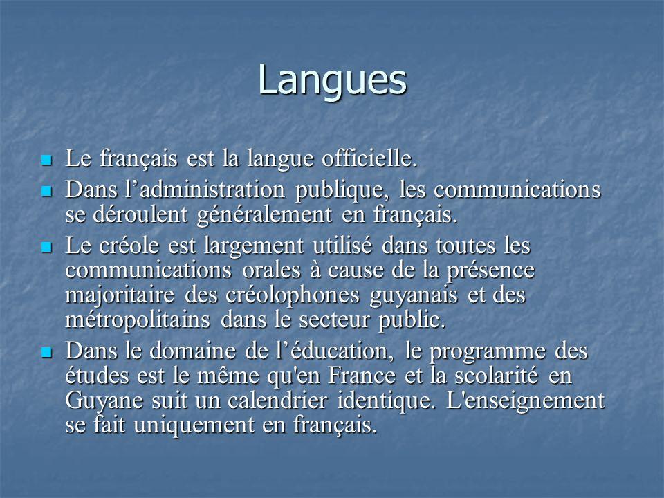 Langues Le français est la langue officielle.
