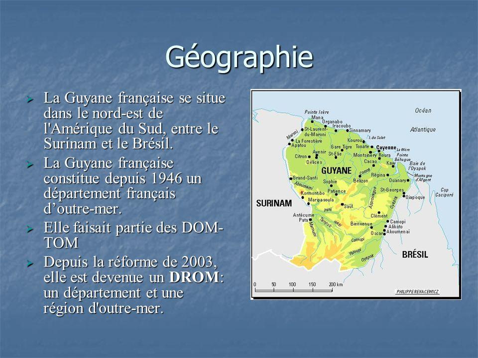 Géographie La Guyane française se situe dans le nord-est de l Amérique du Sud, entre le Surinam et le Brésil.